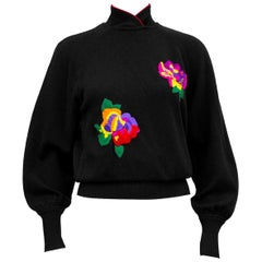 1980s Ungaro Black Wool Knit Sweater with Oversewn Florals
