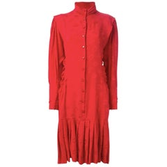 1980s Ungaro Red Silk Kiss Dress