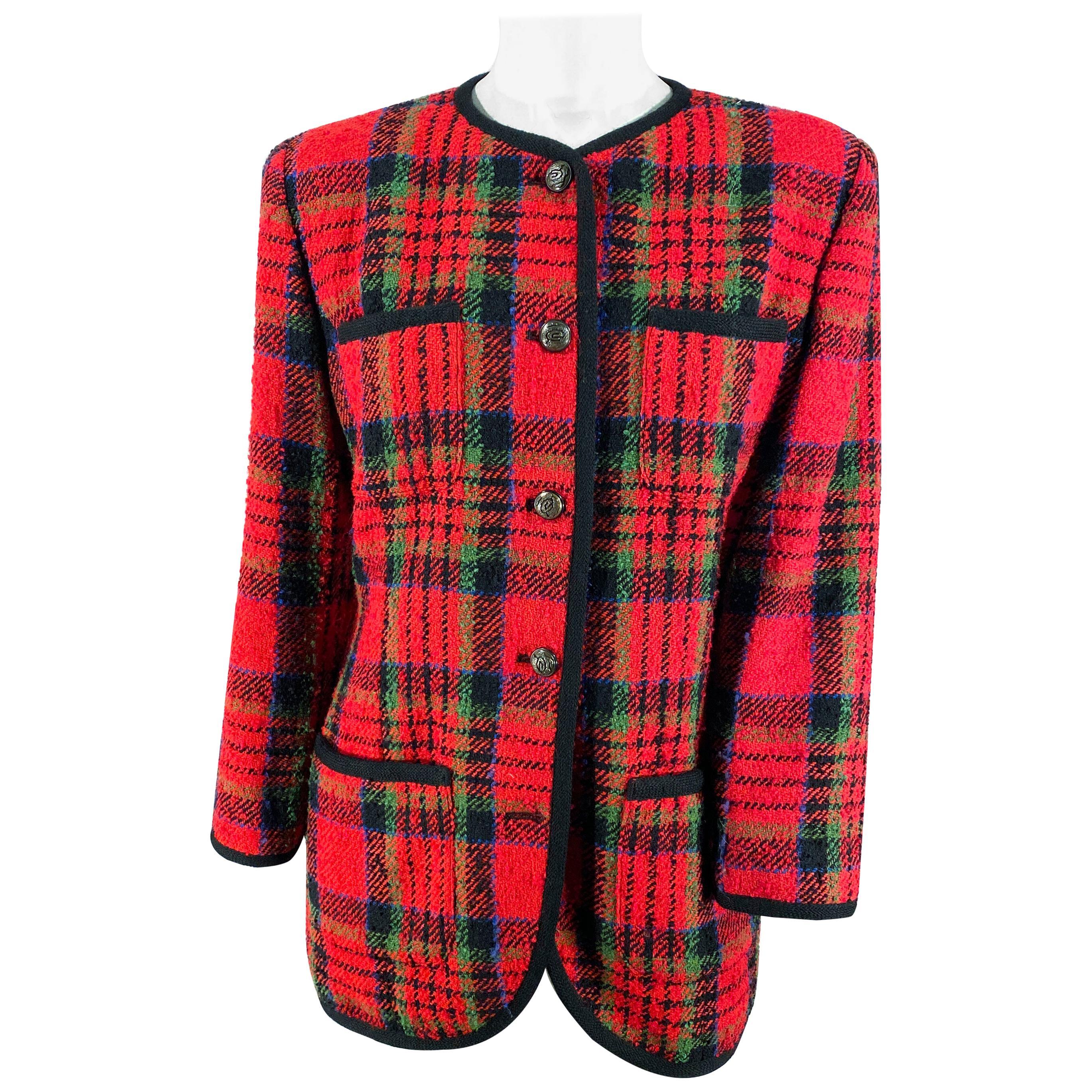 1980s Ungaro Red Wool Plaid Blazer