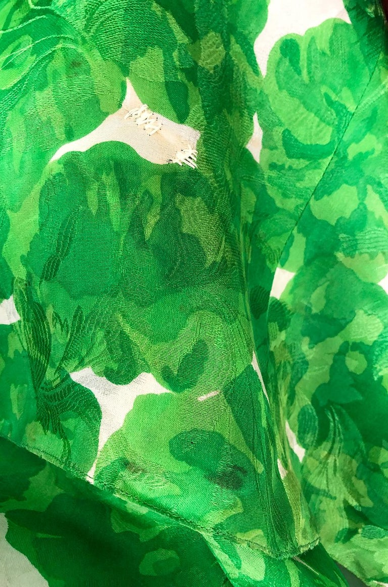 1980s Unlabeled Jean Louis Scherrer Printed Green Silk Gazar Dress For Sale 7