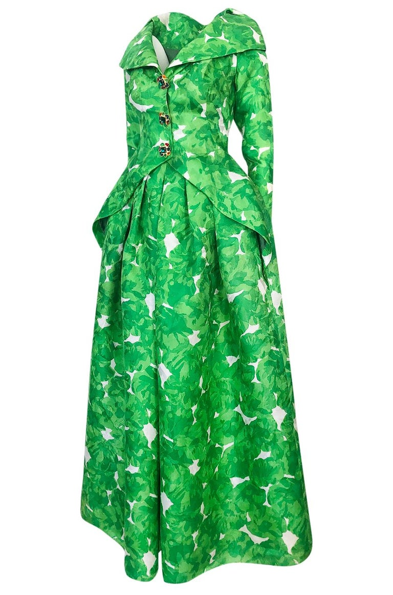Women's 1980s Unlabeled Jean Louis Scherrer Printed Green Silk Gazar Dress For Sale