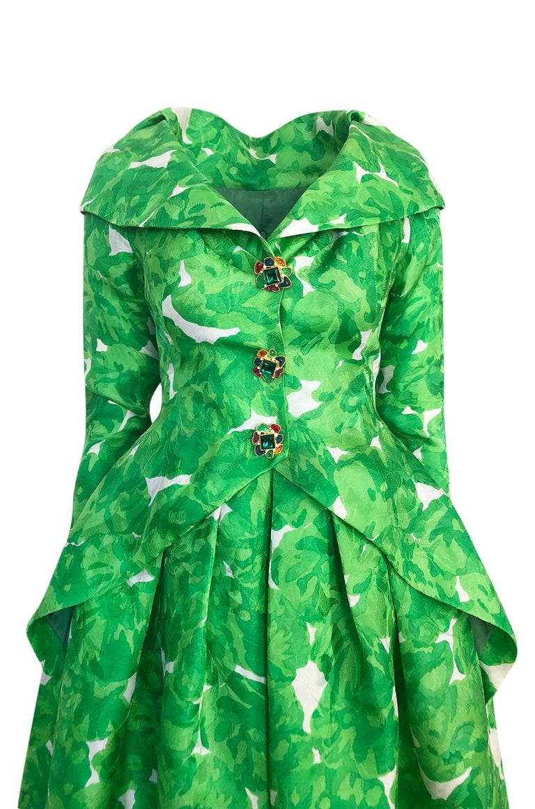 1980s Unlabeled Jean Louis Scherrer Printed Green Silk Gazar Dress For Sale 2