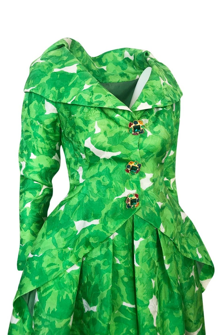 1980s Unlabeled Jean Louis Scherrer Printed Green Silk Gazar Dress For Sale 3