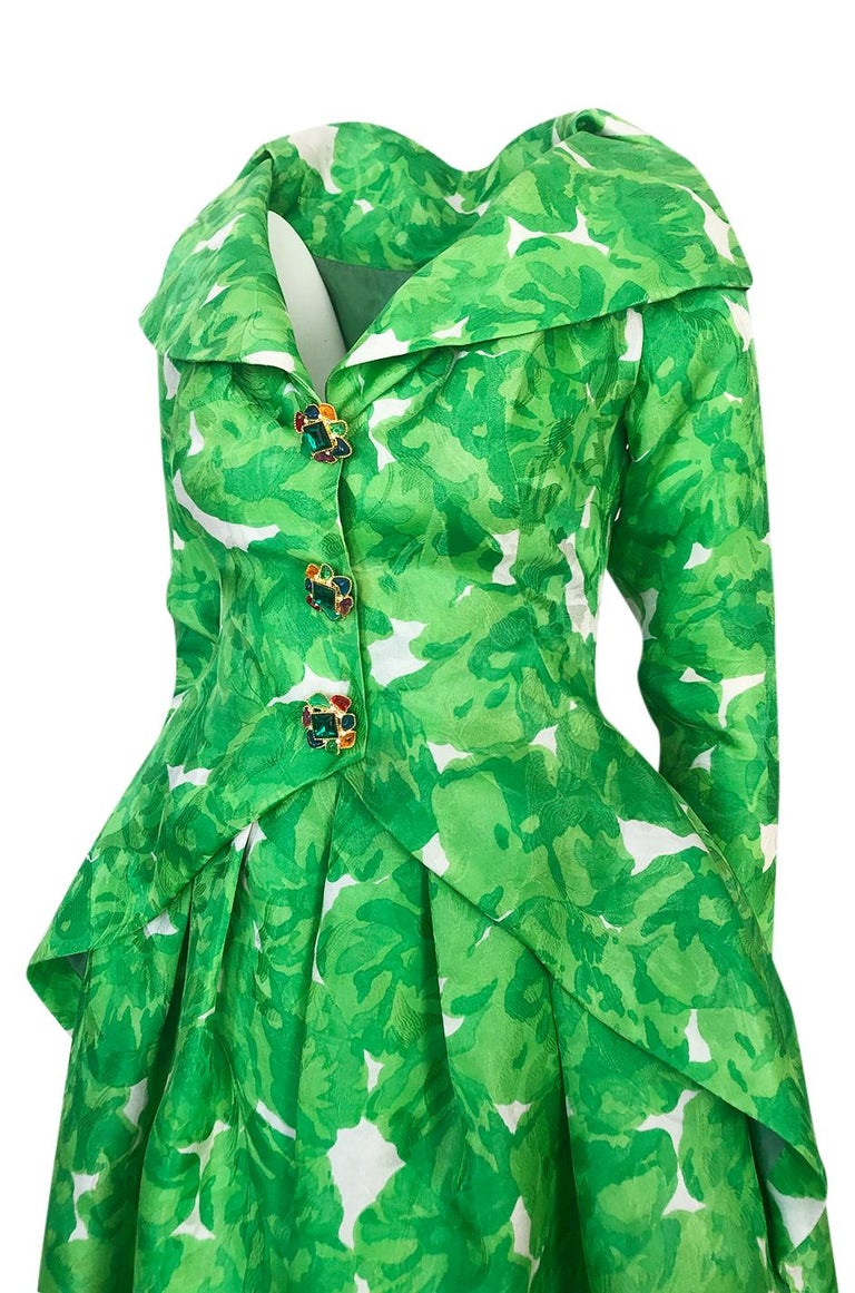1980s Unlabeled Jean Louis Scherrer Printed Green Silk Gazar Dress For Sale 4