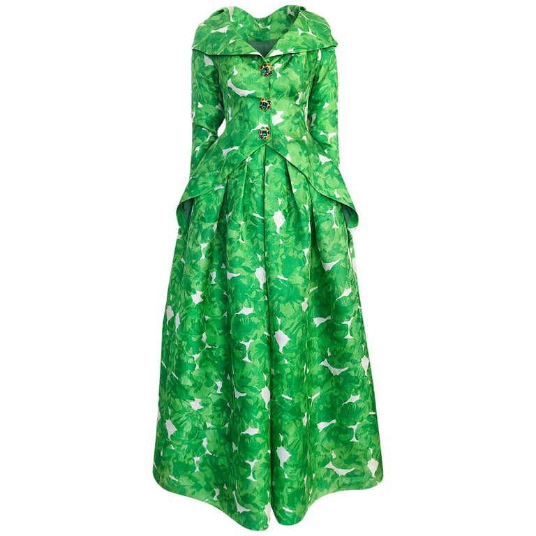 1980s Unlabeled Jean Louis Scherrer Printed Green Silk Gazar Dress For Sale