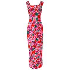 1980s Unlabelled Jacqueline de Ribes Pink Floral Print Silk Dress