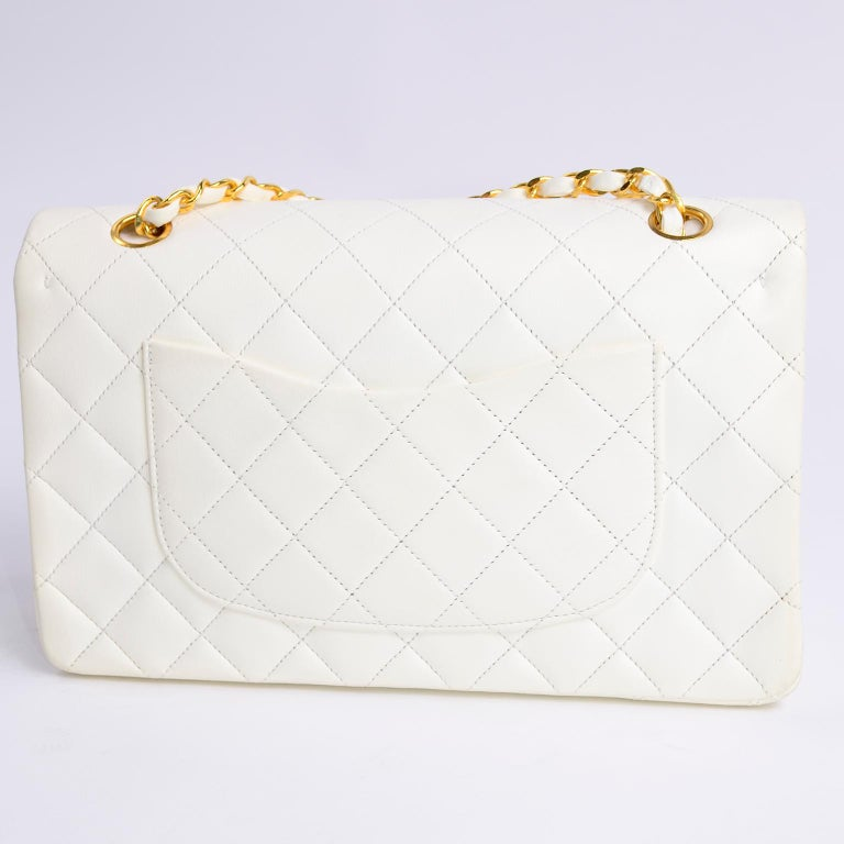 1980s Unused Vintage but New Chanel White Quilted Flap Bag w/ Original Dust Bag For Sale 7