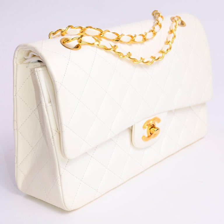 1980s Unused Vintage but New Chanel White Quilted Flap Bag w/ Original Dust Bag For Sale 8