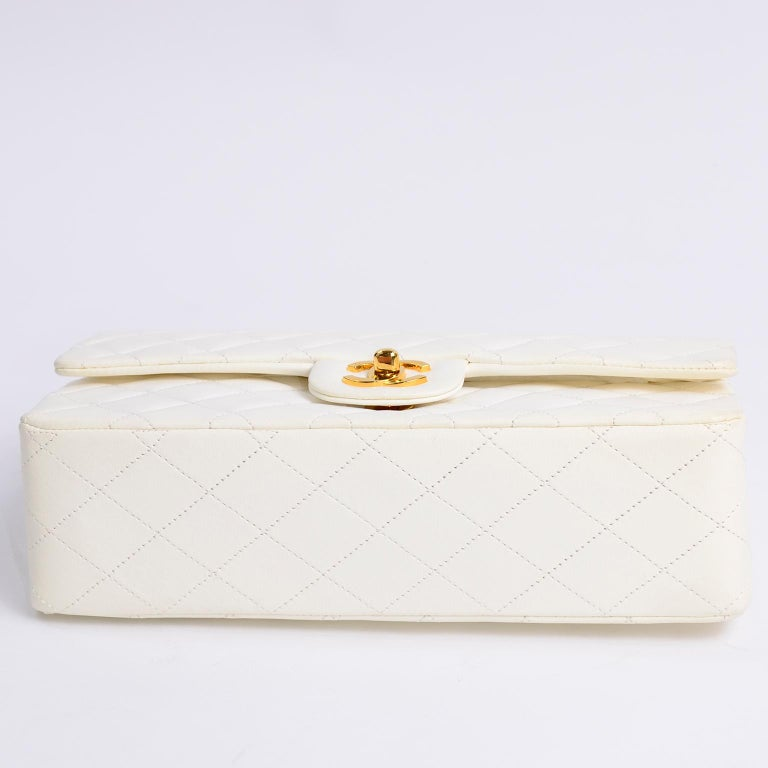1980s Unused Vintage but New Chanel White Quilted Flap Bag w/ Original Dust Bag For Sale 9