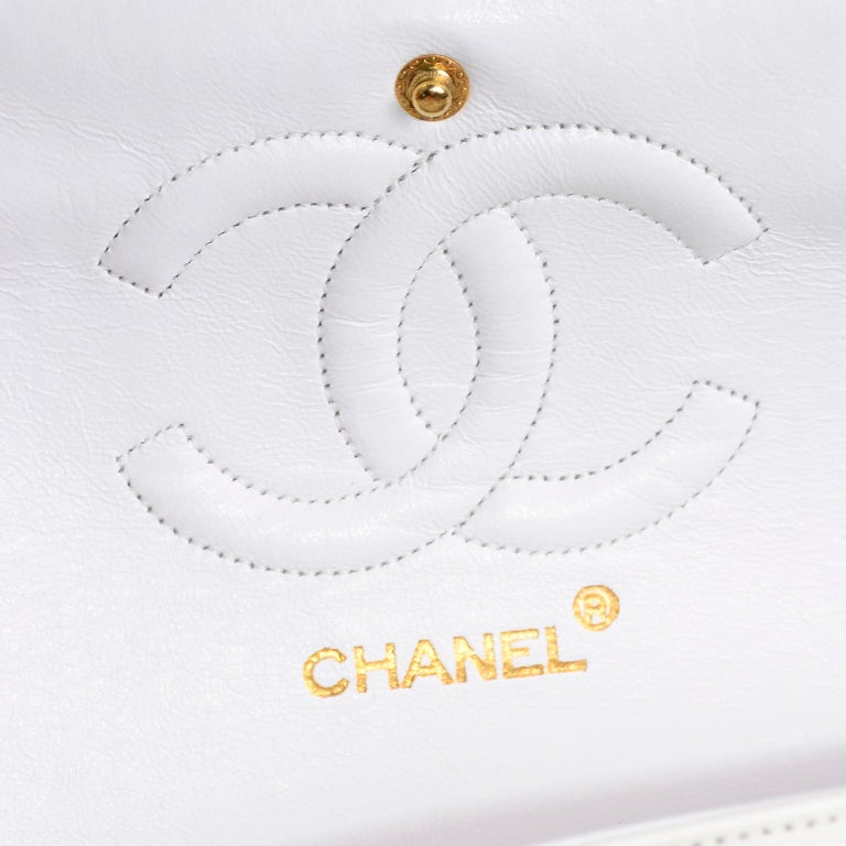 1980s Unused Vintage but New Chanel White Quilted Flap Bag w/ Original Dust Bag For Sale 10