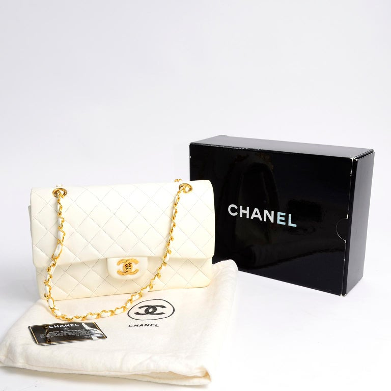 1980s Unused Vintage but New Chanel White Quilted Flap Bag w/ Original Dust Bag For Sale 13