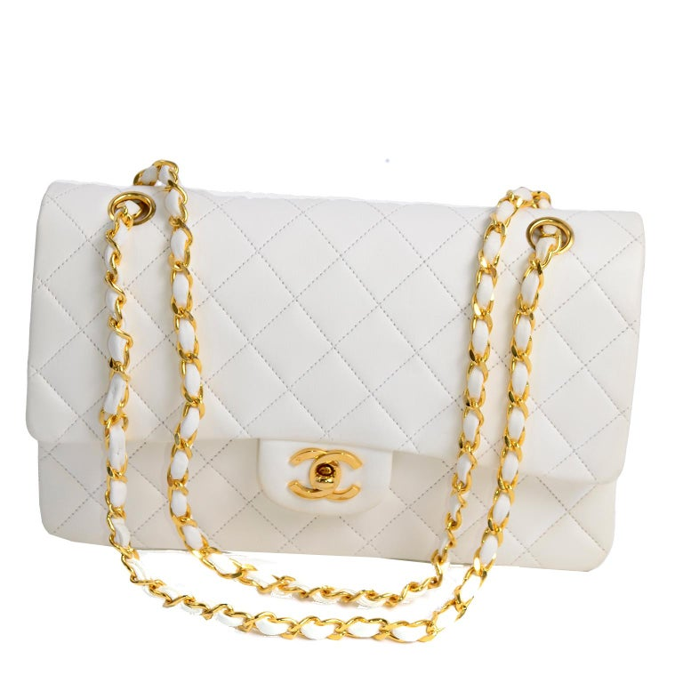 Women's 1980s Unused Vintage but New Chanel White Quilted Flap Bag w/ Original Dust Bag For Sale