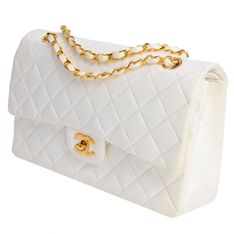 1980s Unused Vintage but New Chanel White Quilted Flap Bag w/ Original Dust Bag For Sale 1