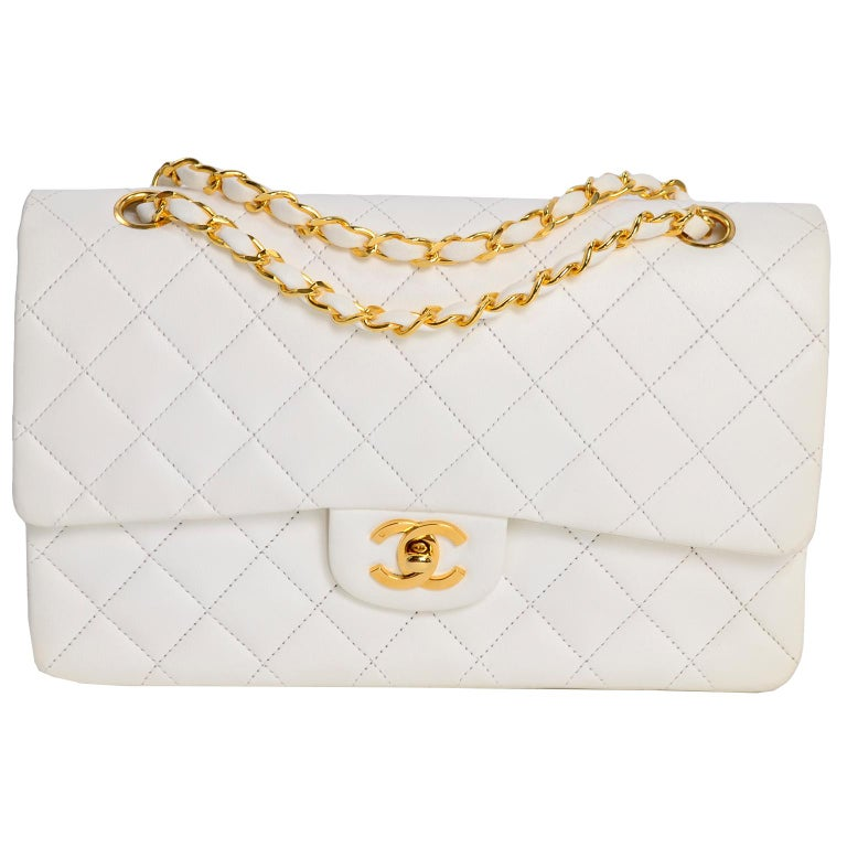 1980s Unused Vintage but New Chanel White Quilted Flap Bag w/ Original Dust Bag For Sale 2