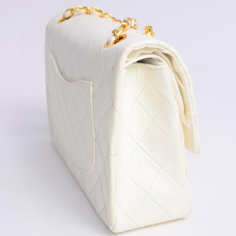 1980s Unused Vintage but New Chanel White Quilted Flap Bag w/ Original Dust Bag For Sale 3