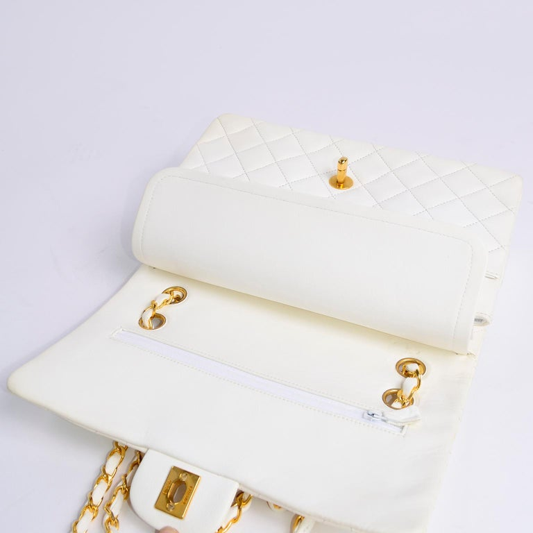 1980s Unused Vintage but New Chanel White Quilted Flap Bag w/ Original Dust Bag For Sale 4