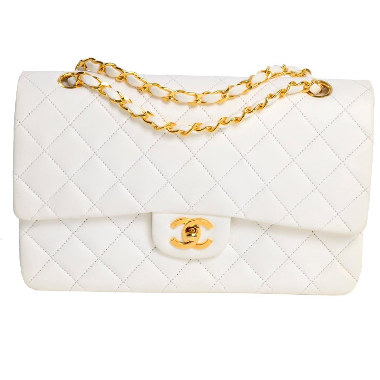 1980s Unused Vintage but New Chanel White Quilted Flap Bag w/ Original Dust Bag For Sale