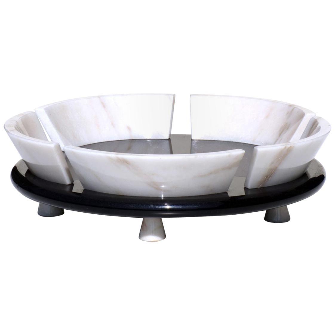 1980s Up&Up Sergio Asti Marble Fruitbowl Italian Postmodern Design Bowl