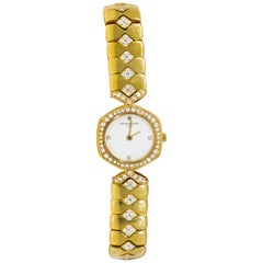1980s Vacheron Constantin Diamond Hexagon Honey Comb Yellow Gold Bracelet Watch