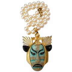Valentino 1980s Ancient Japanese Samurai Warrior Pendant Necklace
