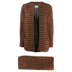 1980s Valentino Black And Brown Checked Suit
