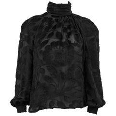 1980s Valentino Black Devore Evening Blouse