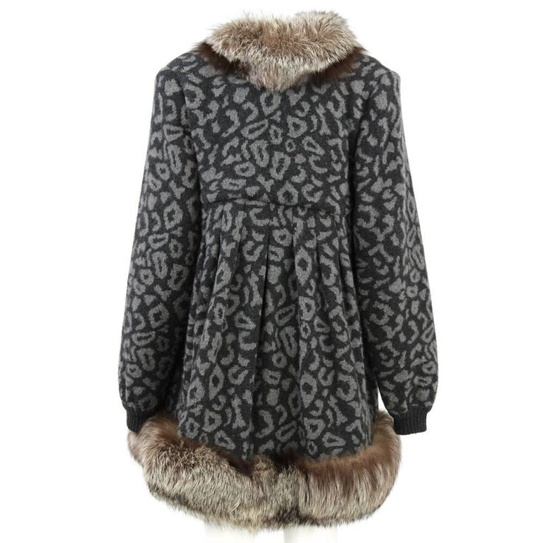 Black 1980s Valentino Cashmere Jacket Hemmed with Fox Fur For Sale