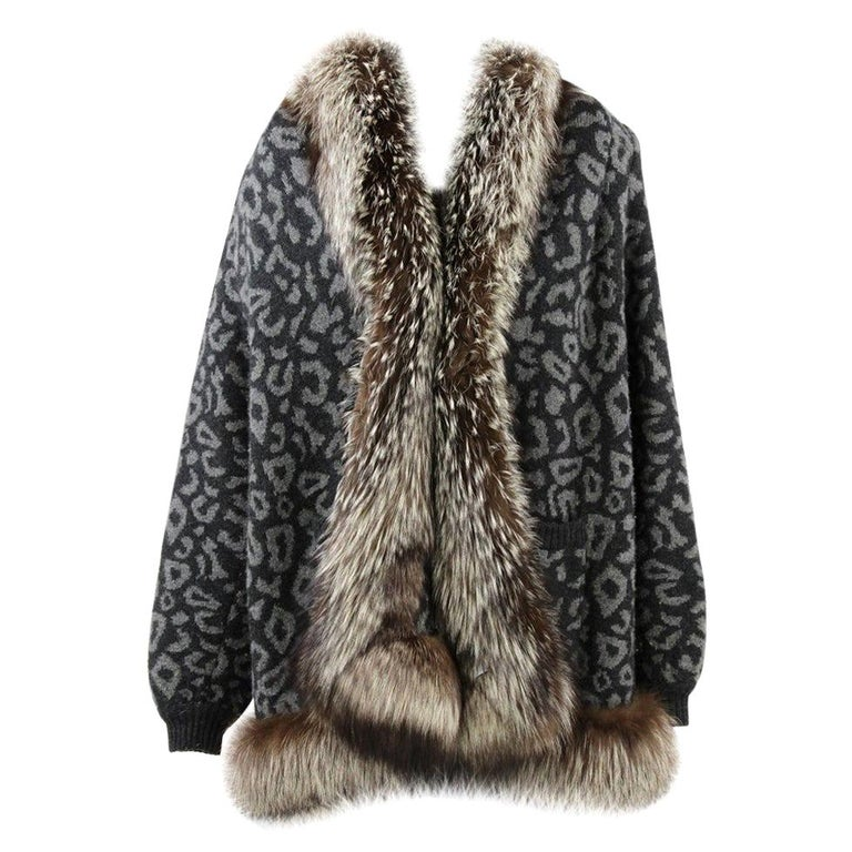 1980s Valentino Cashmere Jacket Hemmed with Fox Fur For Sale