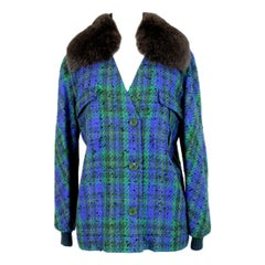 1980s Valentino Green Wool Boucle Faux Fur Neck Jacket