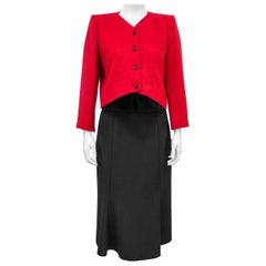 1980s Valentino Midi Skirt Suit with Red Jacket and Velvet Details
