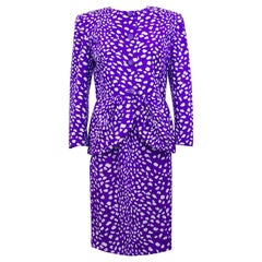 1980s Valentino Purple and White Leopard Print Skirt Suit