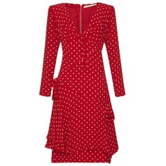 1980s Valentino Silk Crepe Demi Couture Red Polka Dot Dress with Bow