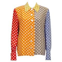 1980's Valentino Silk Multi Color Polka Dot Shirt