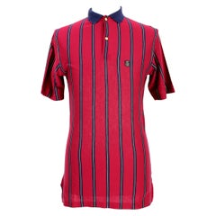 1980s Valentino Sport Blue Red Cotton Pinstripe Polo Shirt