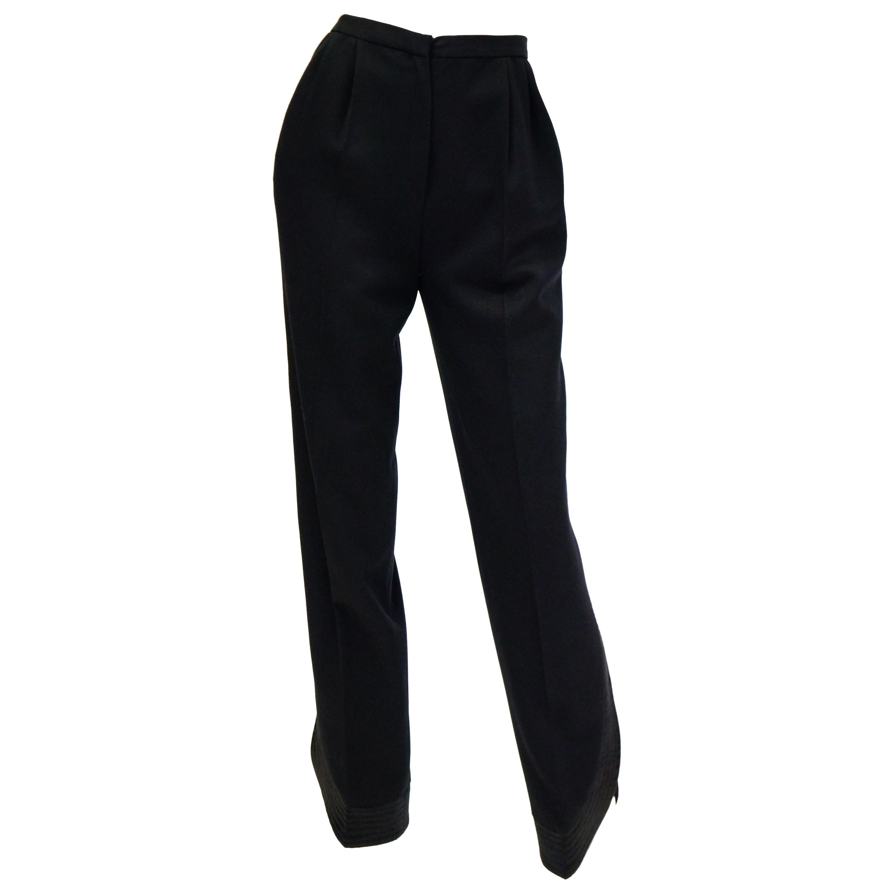 1980s Valentino Wool and Silk Tuxedo Trousers with Curved Slit