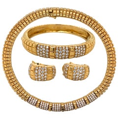 1980s Van Cleef & Arpels 18 Karat Yellow Gold and Diamond Suite