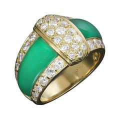 1980s Van Cleef & Arpels Green Chrysoprase Diamond Yellow Gold Ring
