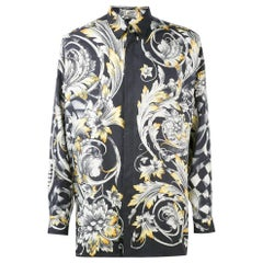 1980s Versace Black, Grey And Gold Silk Shirt