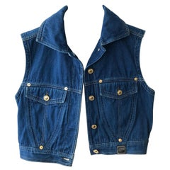 1980s Versace Couture denim cropped waistcoat