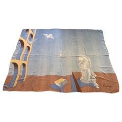 "1980s Very Rare Thierry Mugler  Daliesque Surrealist Silk Chiffon Scarf 53.5x43"""