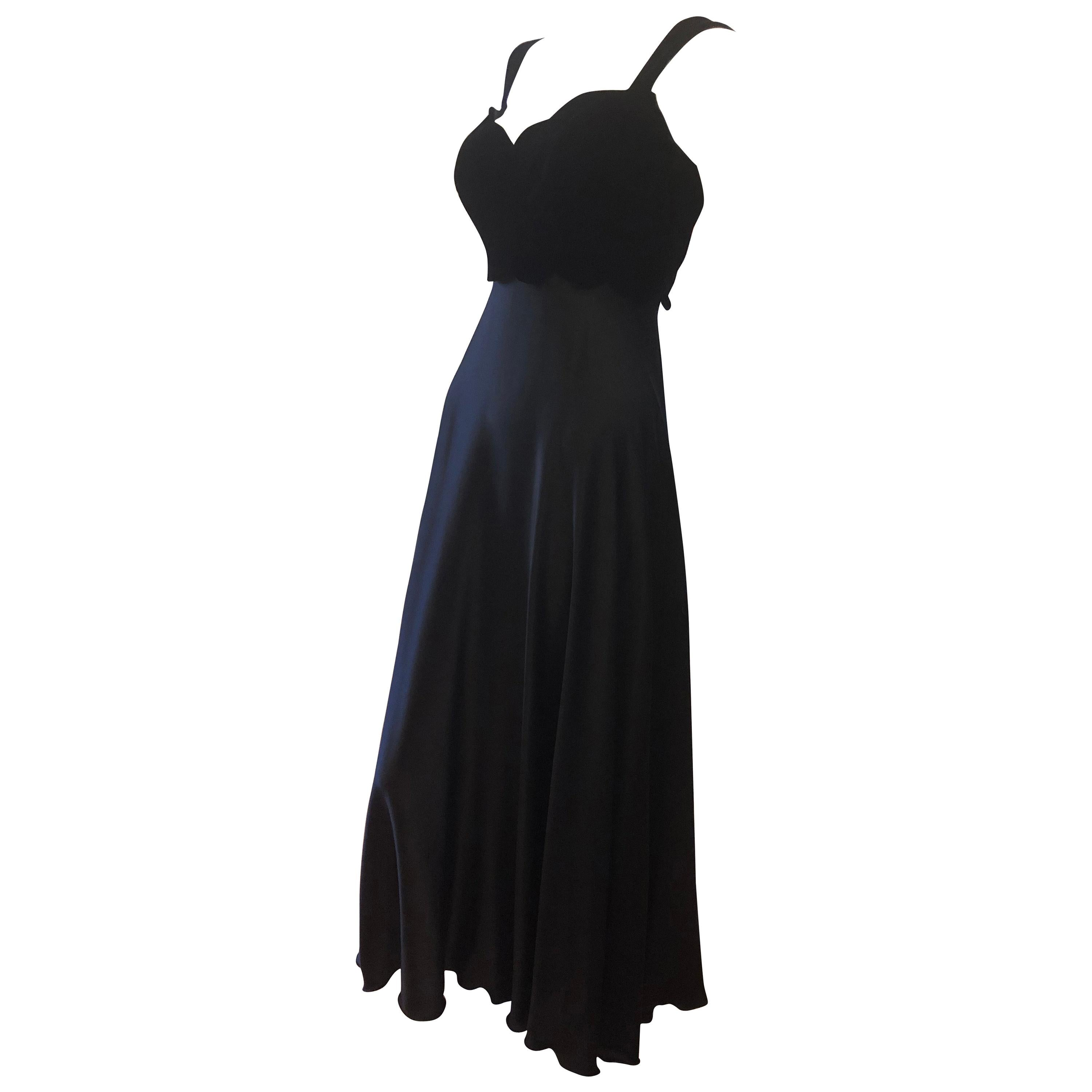 1980s Vicky Tiel Couture Black Silk and Velour Gown/Dress (38Fr)