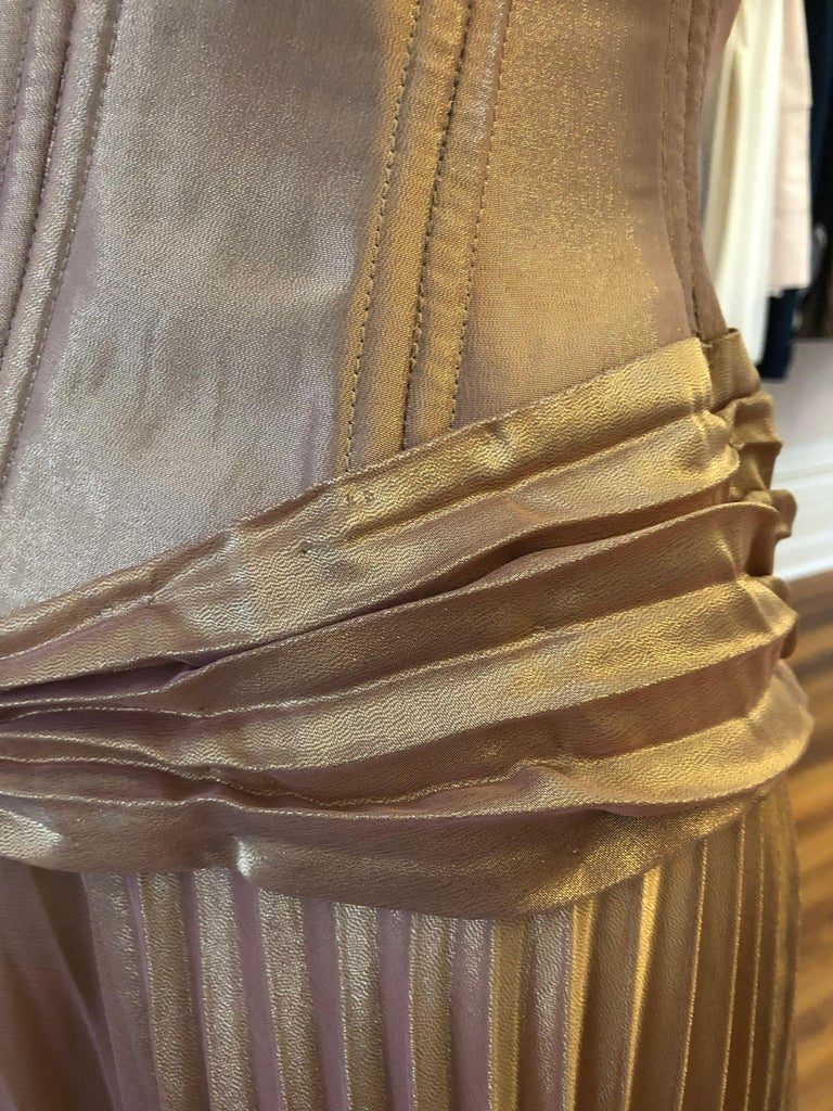 Brown 1980s Vicky Tiel Couture Metallic Gold Lame Dress with Bolero (S) For Sale