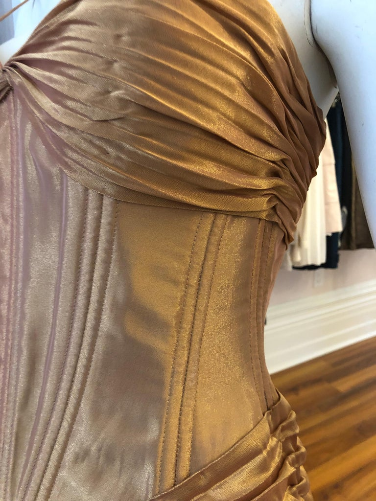 1980s Vicky Tiel Couture Metallic Gold Lame Dress with Bolero (S) In Excellent Condition For Sale In Port Hope, ON