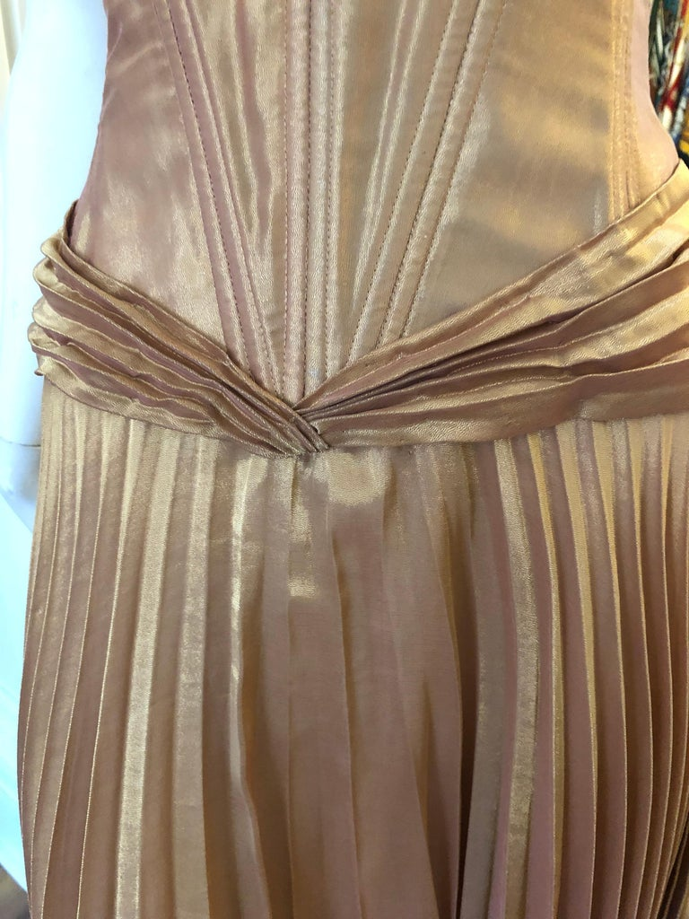 Women's 1980s Vicky Tiel Couture Metallic Gold Lame Dress with Bolero (S) For Sale