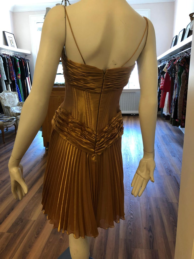 1980s Vicky Tiel Couture Metallic Gold Lame Dress with Bolero (S) For Sale 1