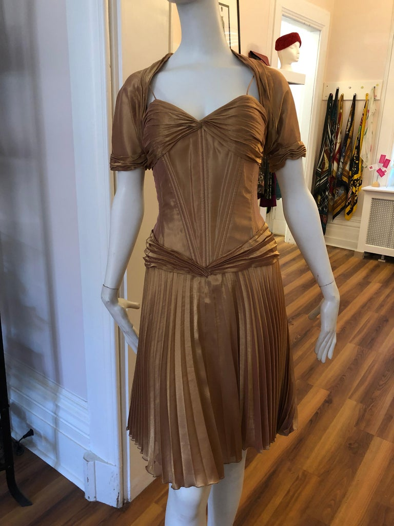 1980s Vicky Tiel Couture Metallic Gold Lame Dress with Bolero (S) For Sale 2