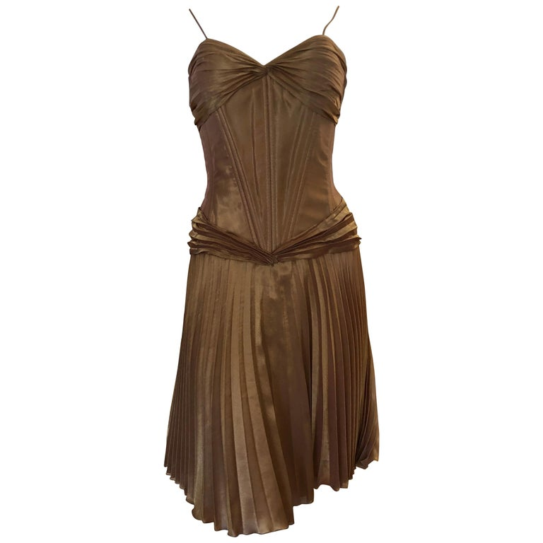 1980s Vicky Tiel Couture Metallic Gold Lame Dress with Bolero (S) For Sale
