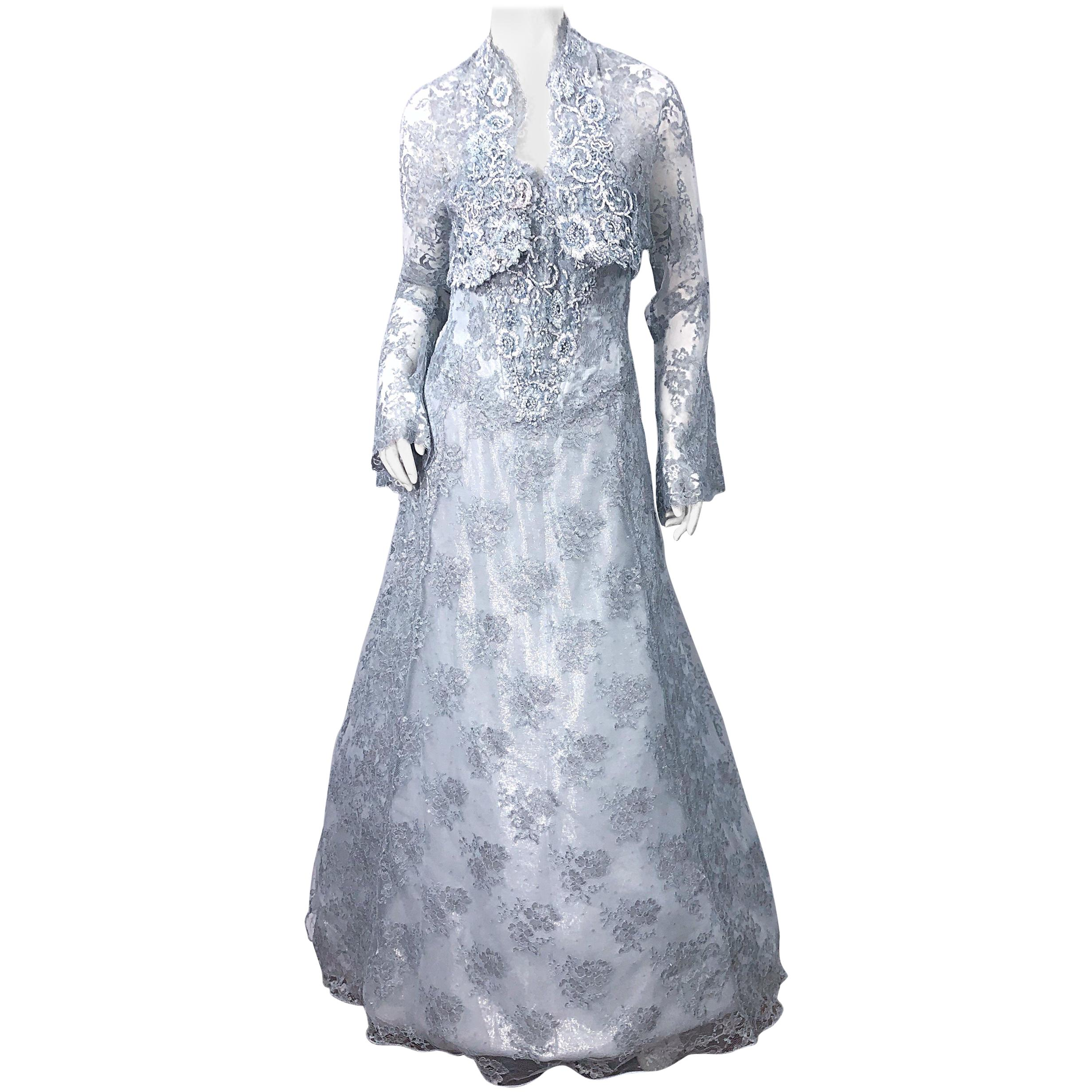 1980s Vicky Tiel Couture Size 12 / 46 Beaded Light Blue 80s Silk Gown + Bolero
