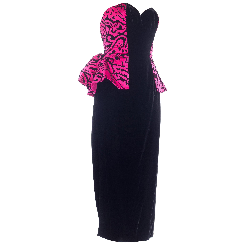 1980S VICKY TIEL Hot Pink & Black Silk Satin Velvet Strapless Peplum Skirt Cock