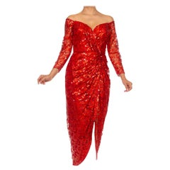1980S VICKY TIEL Red Sequin Beaded Metallic Lace Strapless Cocktail Dress With